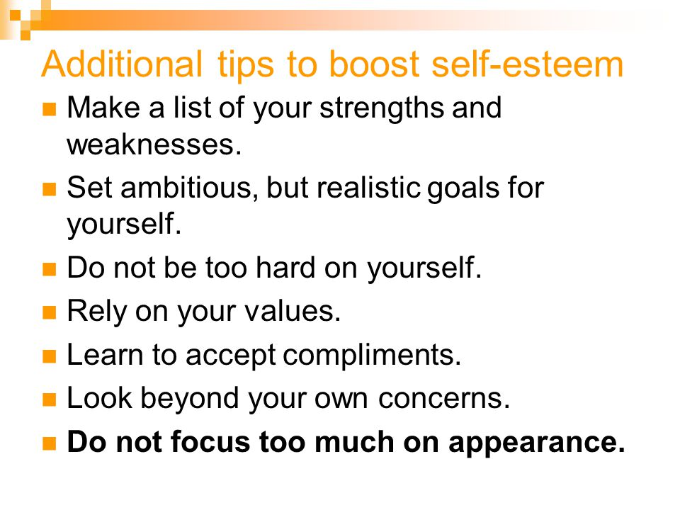 Additional tips to boost self-esteem