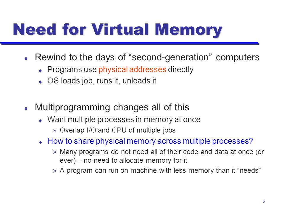 Need for Virtual Memory