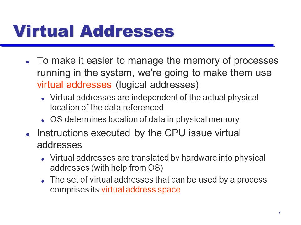 Virtual Addresses