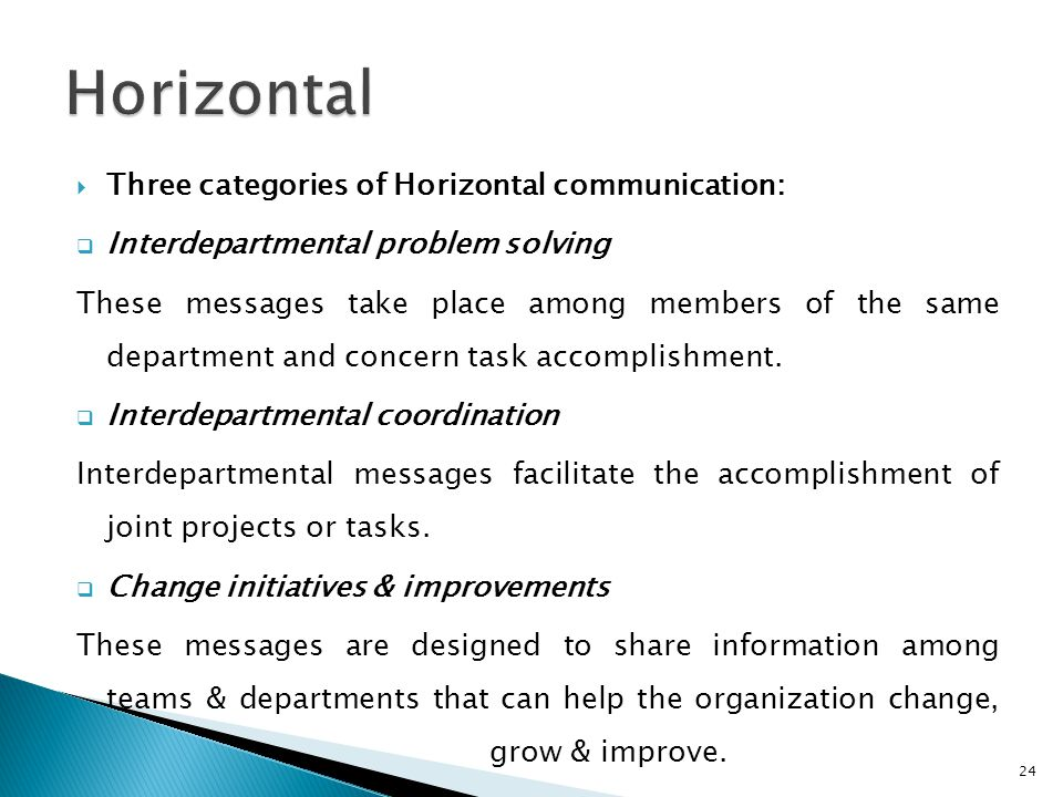 Horizontal Three categories of Horizontal communication: