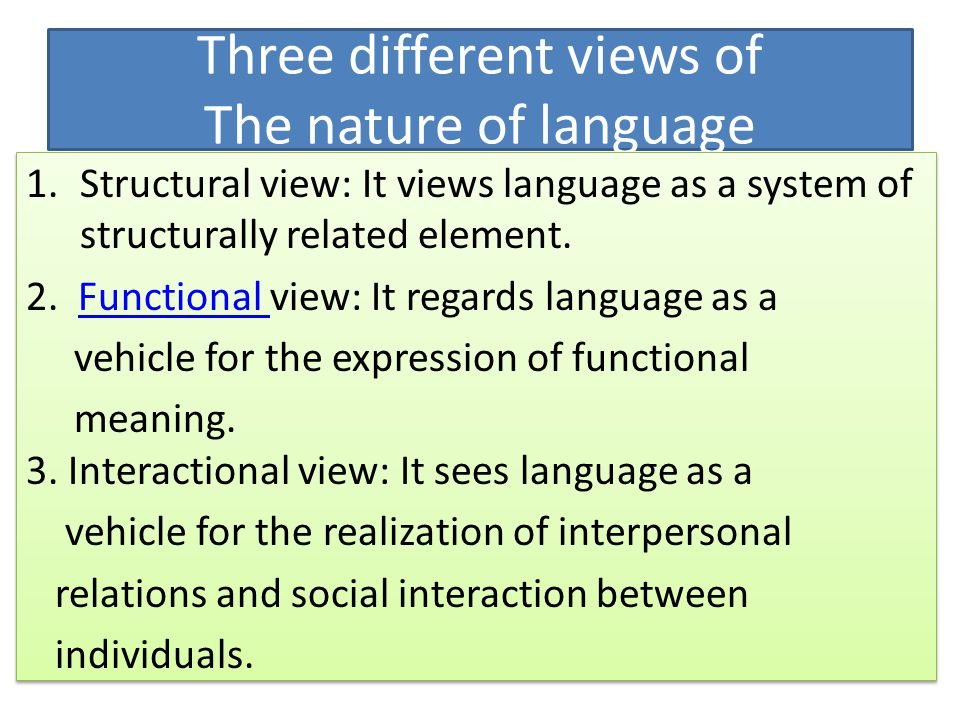 functional view of language