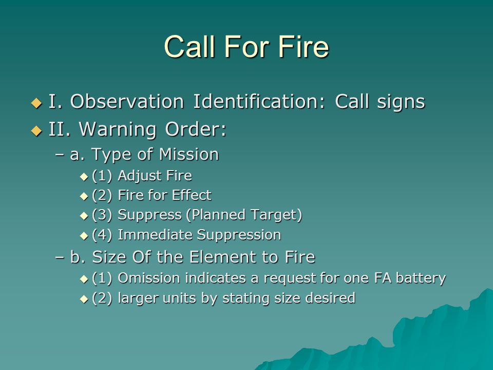 Call For Fire I. Observation Identification: Call signs