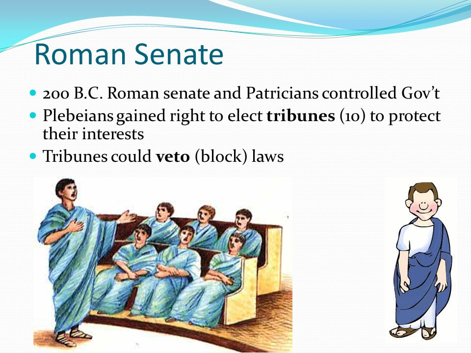 Roman Senate 200 B.C. Roman senate and Patricians controlled Gov't
