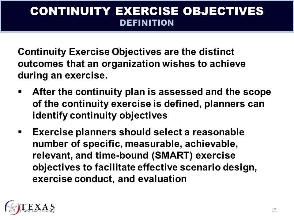 purpose to develop standard exercise objectives and exercise