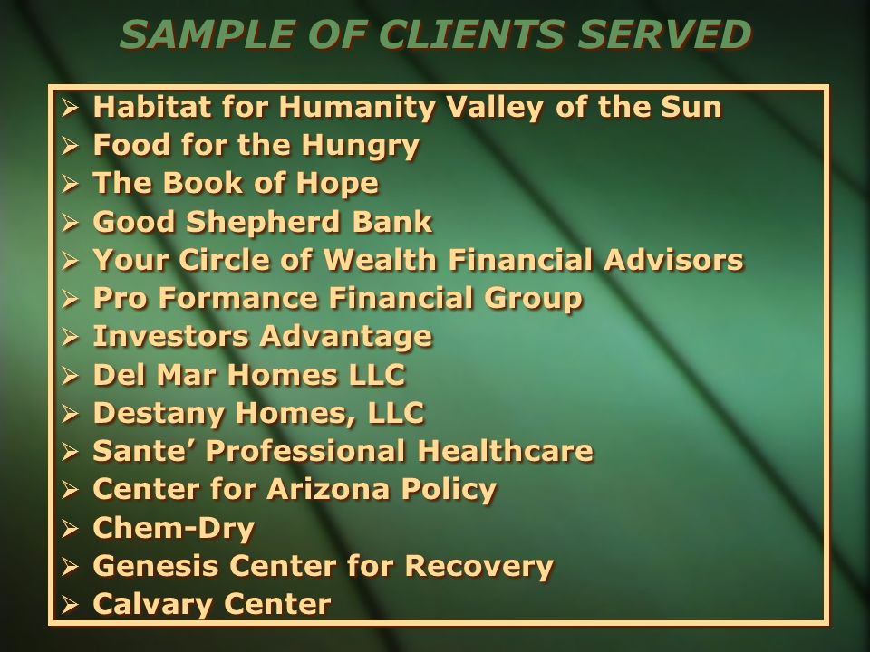SAMPLE OF CLIENTS SERVED