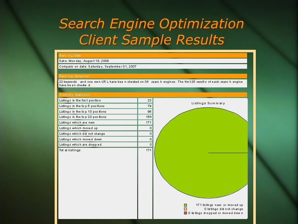 Search Engine Optimization Client Sample Results