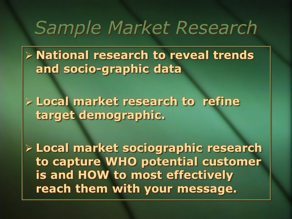 Sample Market Research
