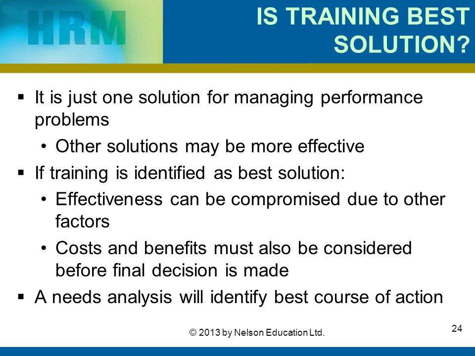 IS TRAINING BEST SOLUTION