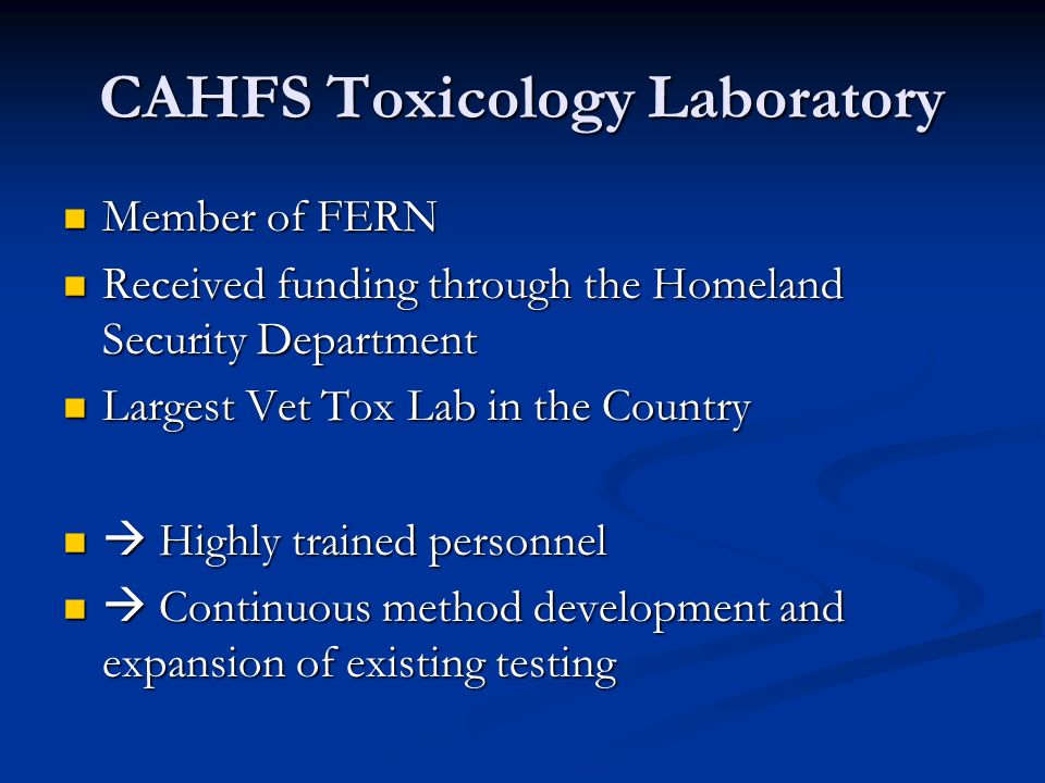 CAHFS Toxicology Laboratory