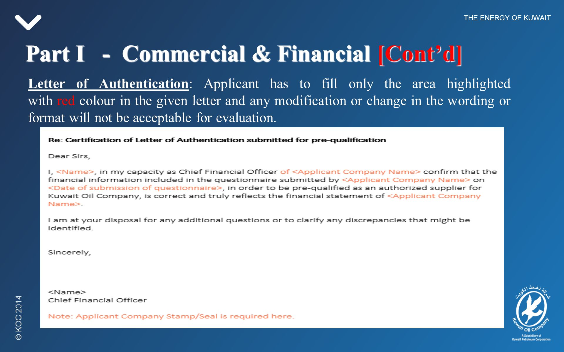 Kuwait Oil Company Offer Letter Format