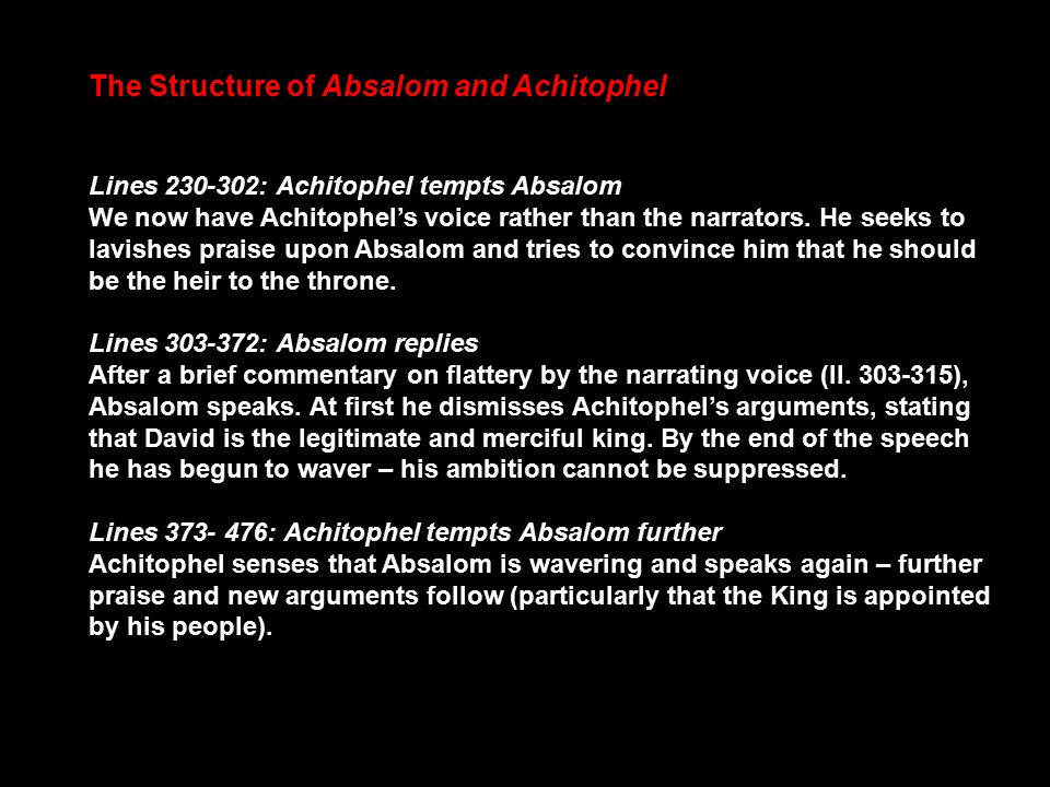 dryden absalom and achitophel summary
