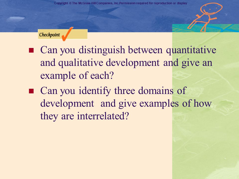 Can you distinguish between quantitative and qualitative development and give an example of each
