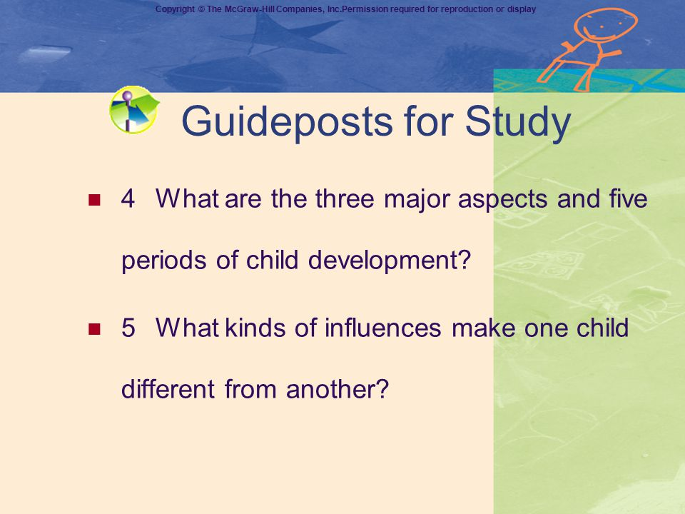 Guideposts for Study 4 What are the three major aspects and five periods of child development
