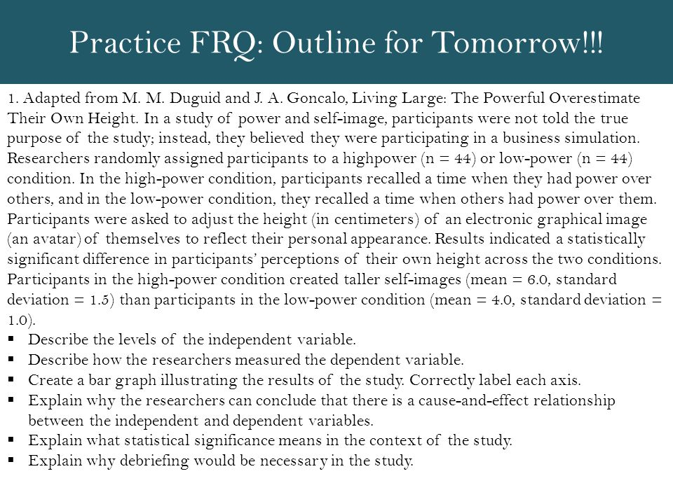 Practice FRQ: Outline for Tomorrow!!!