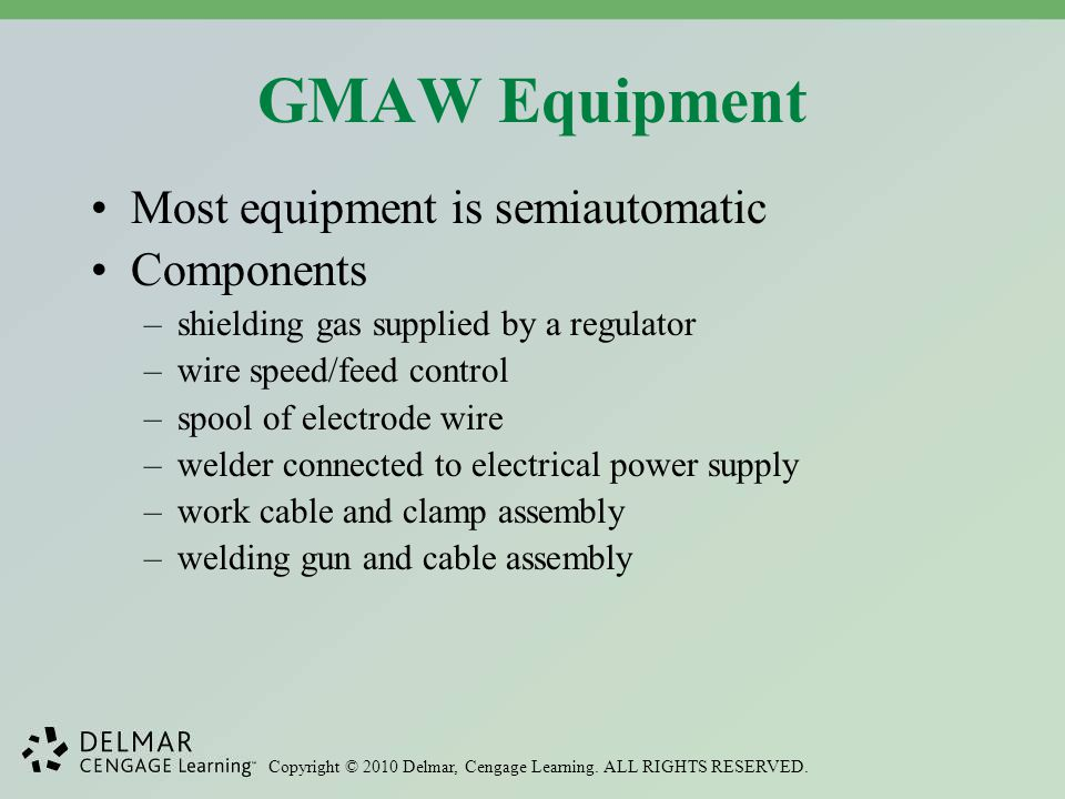 GMAW Equipment Most equipment is semiautomatic Components