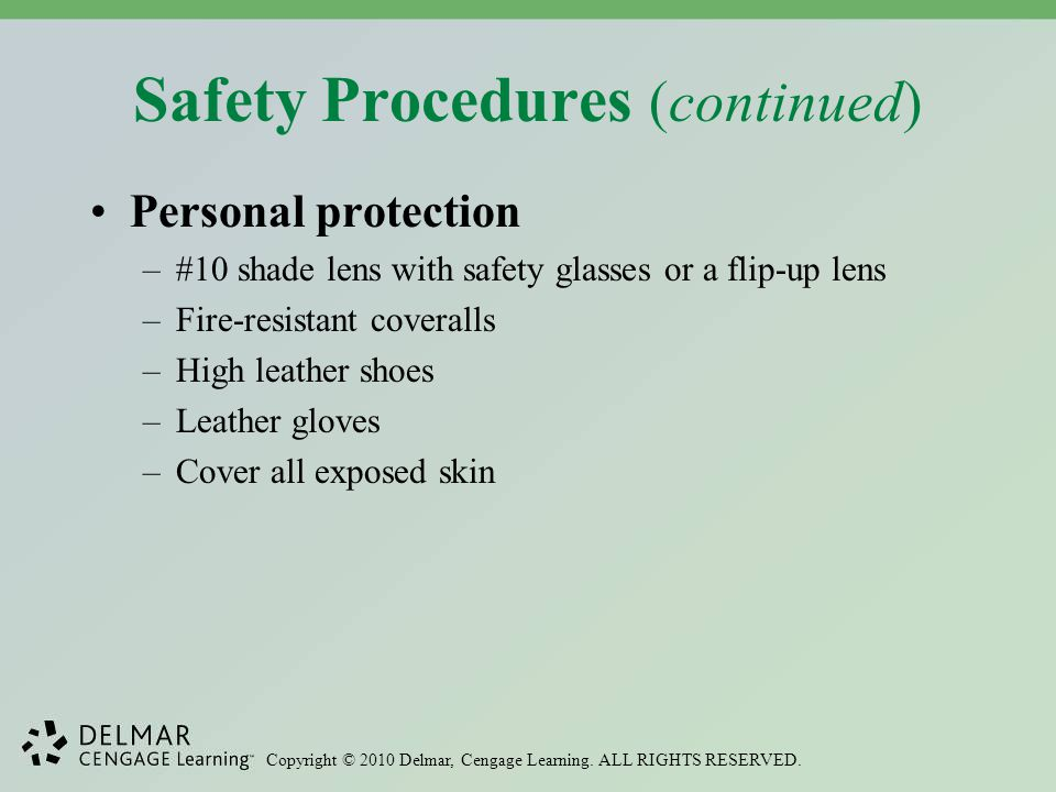 Safety Procedures (continued)