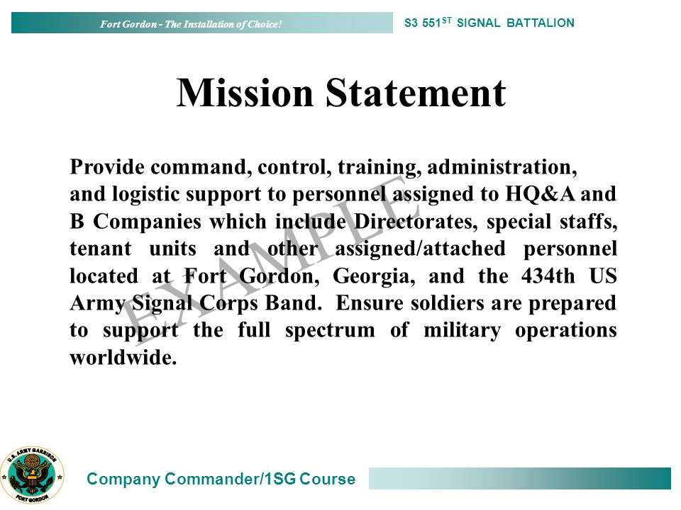 Military Mission Statement Examples Gallery Example Cover Letter