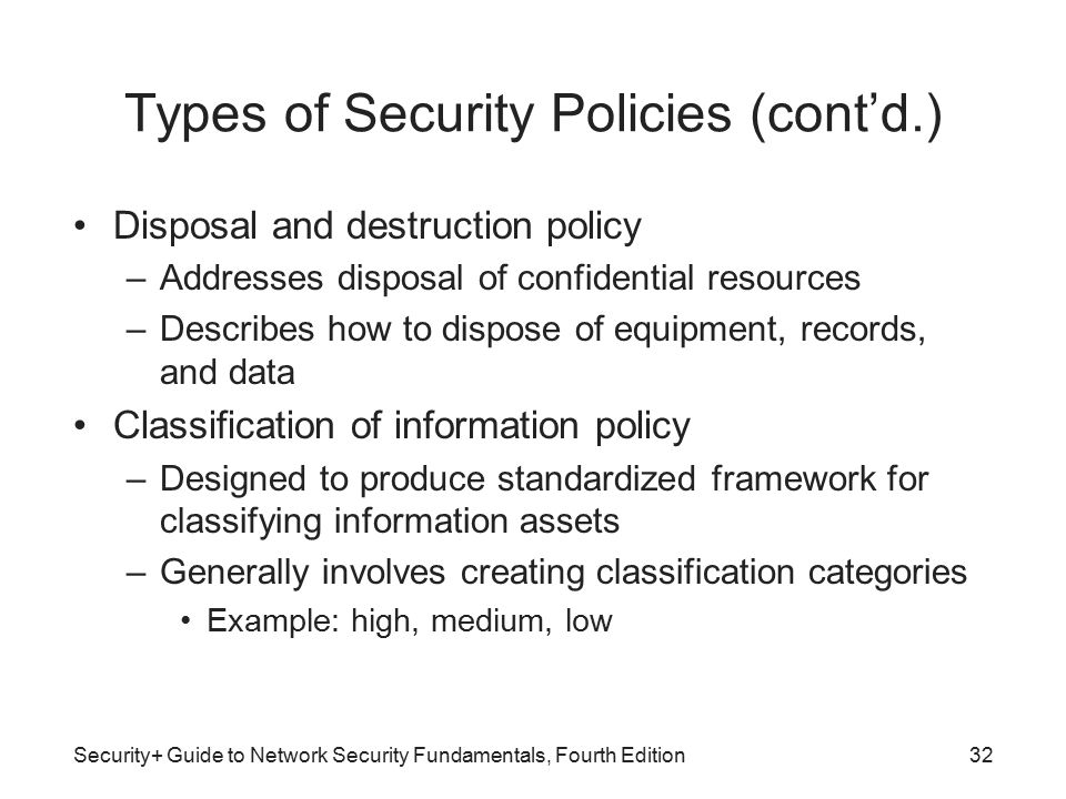 types of security policies contd