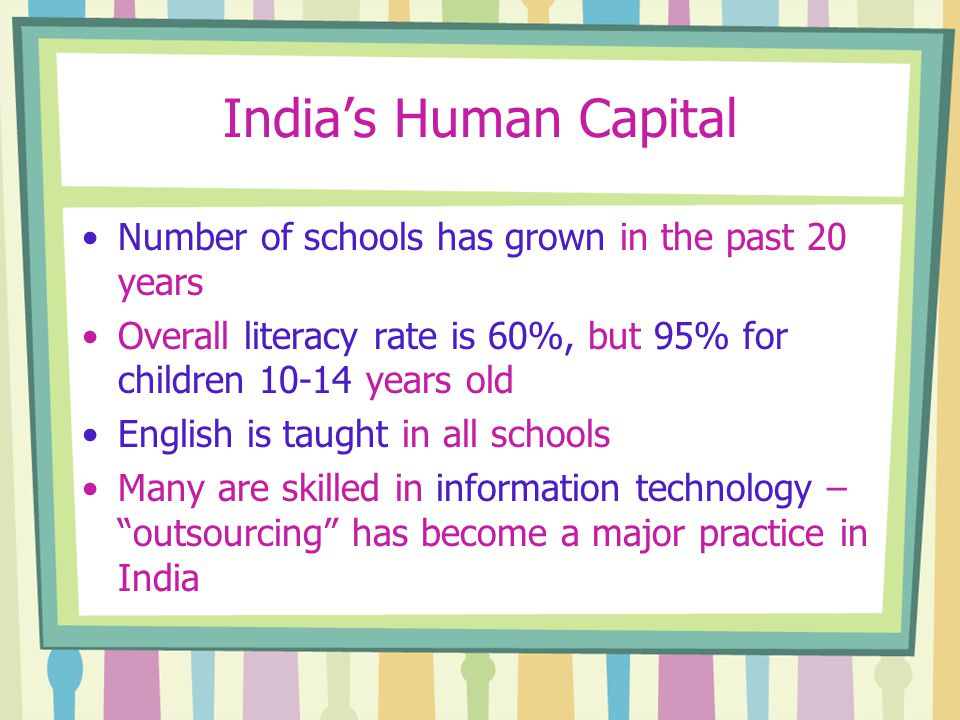India's Human Capital Number of schools has grown in the past 20 years