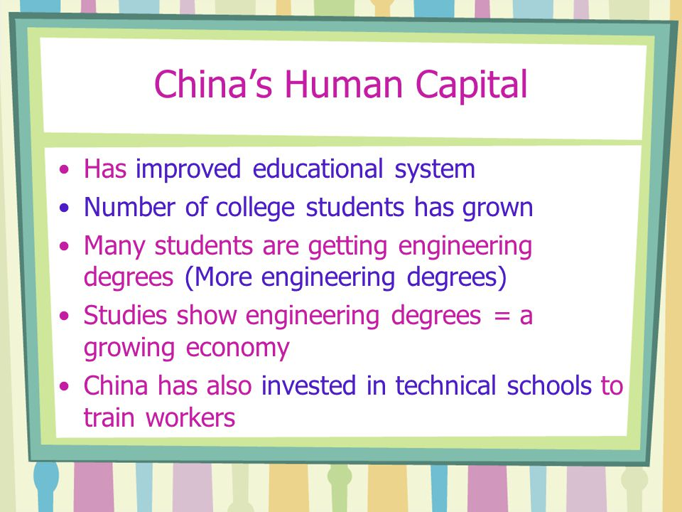 China's Human Capital Has improved educational system