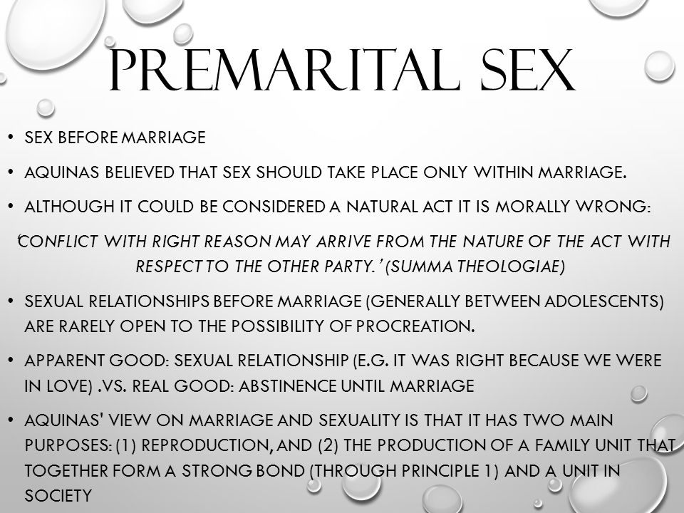 Before marriage right is sex Is Sex