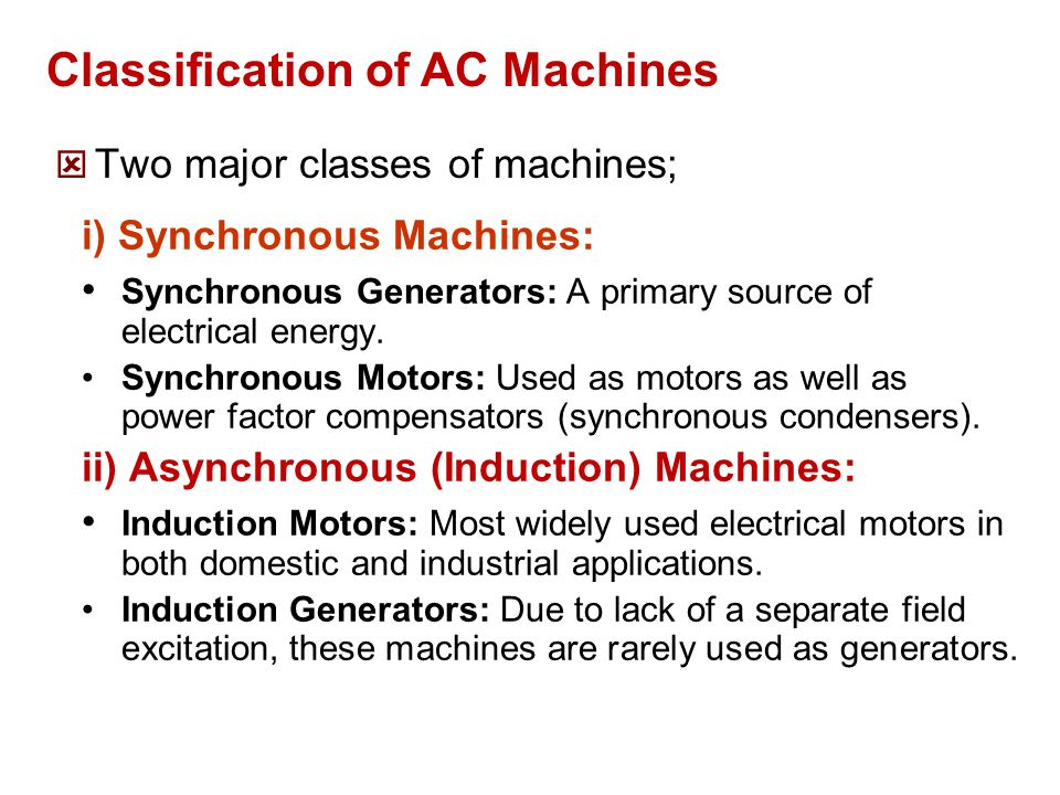 Classification of AC Machines
