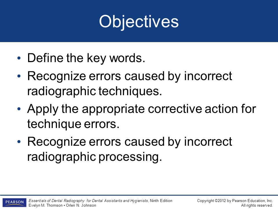 Objectives Define the key words.