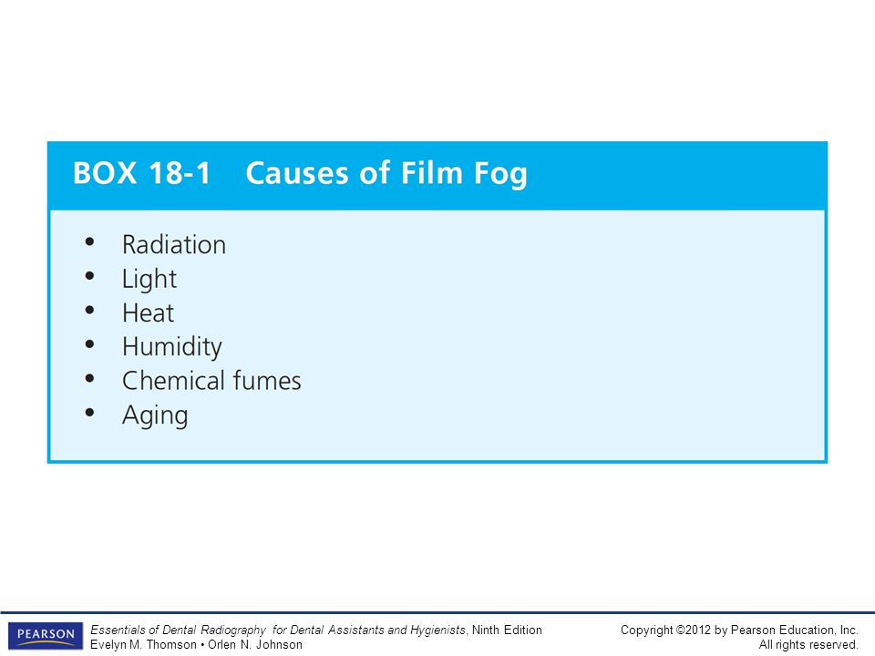 BOX 18-1 Causes of Film Fog