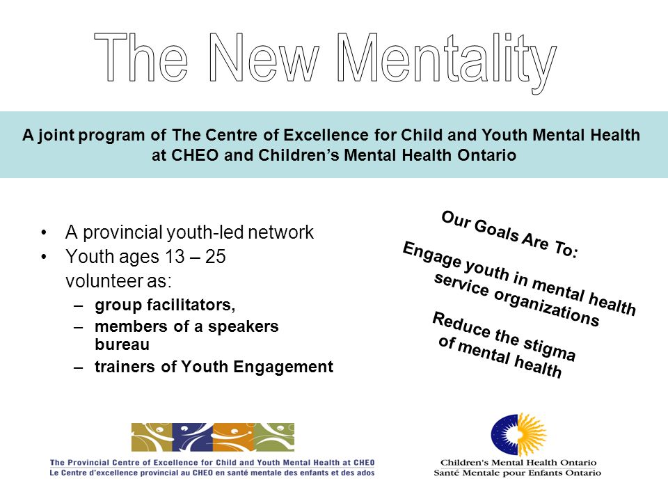 The New Mentality A provincial youth-led network Youth ages 13 – 25