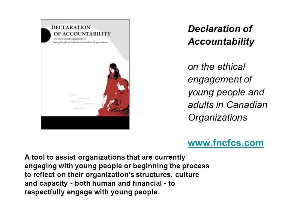 Declaration of Accountability on the ethical engagement of