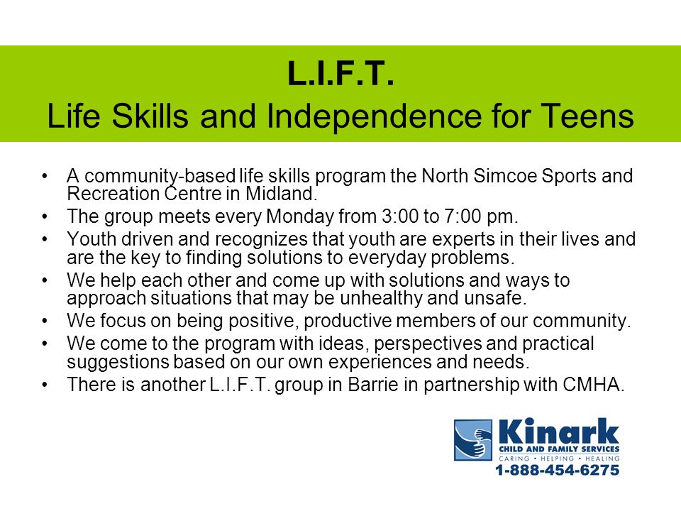 L.I.F.T. Life Skills and Independence for Teens
