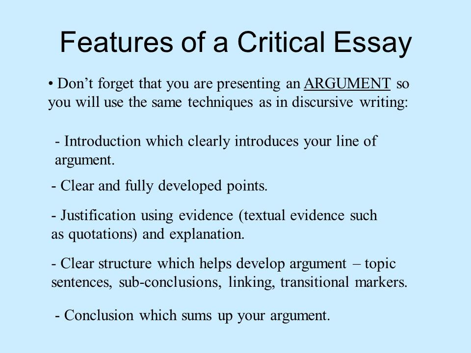 critical essays on poems A critical essay is a kind of writing that requires its author to explore the strong and weak sides within a given subject many students mistakenly think that critical essay writing is a task where they need to criticize a given subject (novel, poem, piece of art etc) in the meantime, criticizing.
