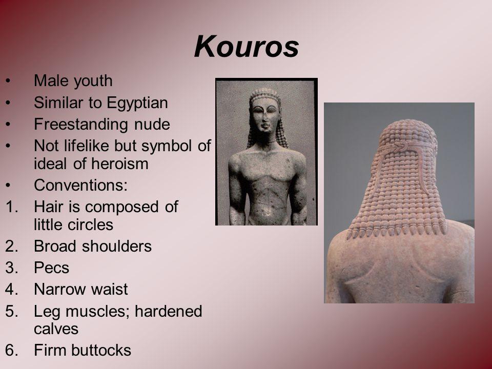 26 Kouros Male youth Similar to Egyptian Freestanding nude