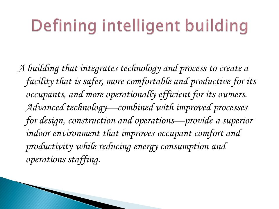 Defining intelligent building