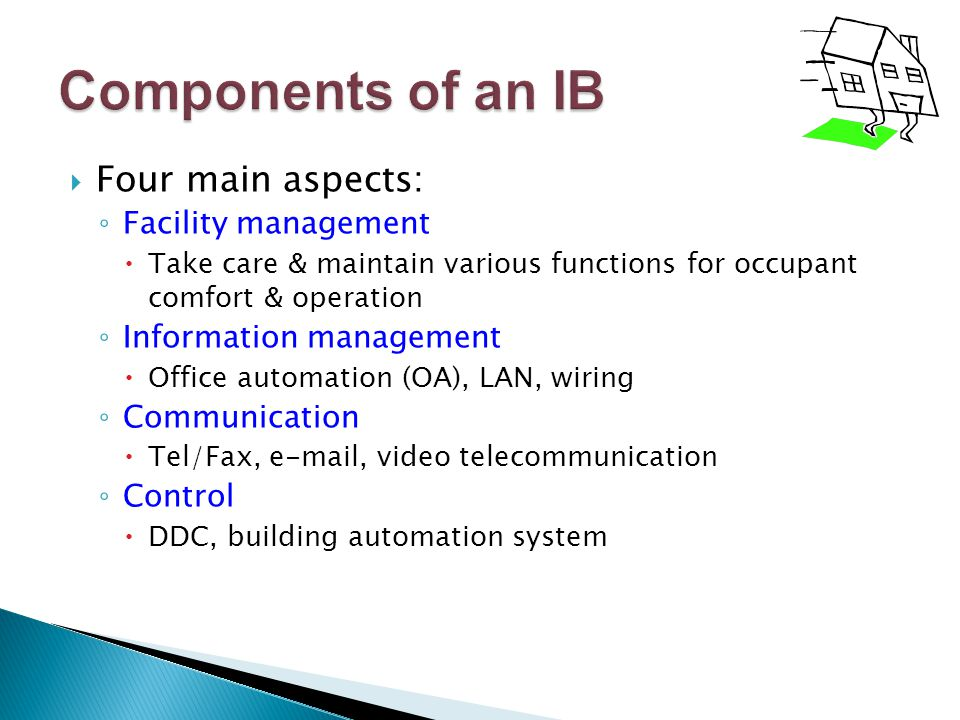 Components of an IB Four main aspects: Facility management