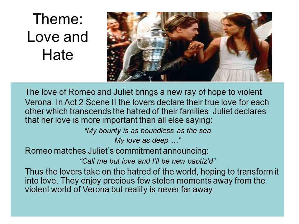 themes of love and hate in romeo and juliet