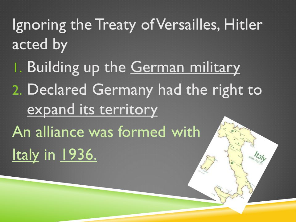 Ignoring the Treaty of Versailles, Hitler acted by