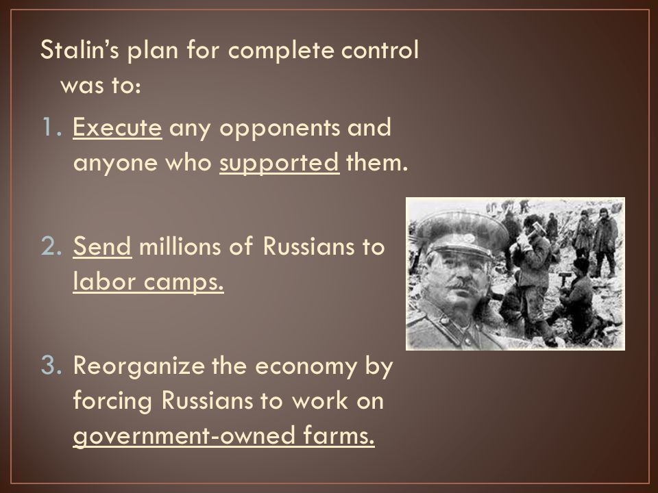 Stalin's plan for complete control was to: