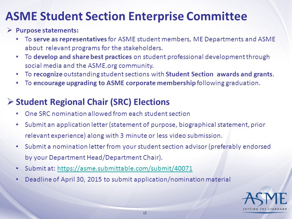 ASME Student Section Enterprise and Student Programs