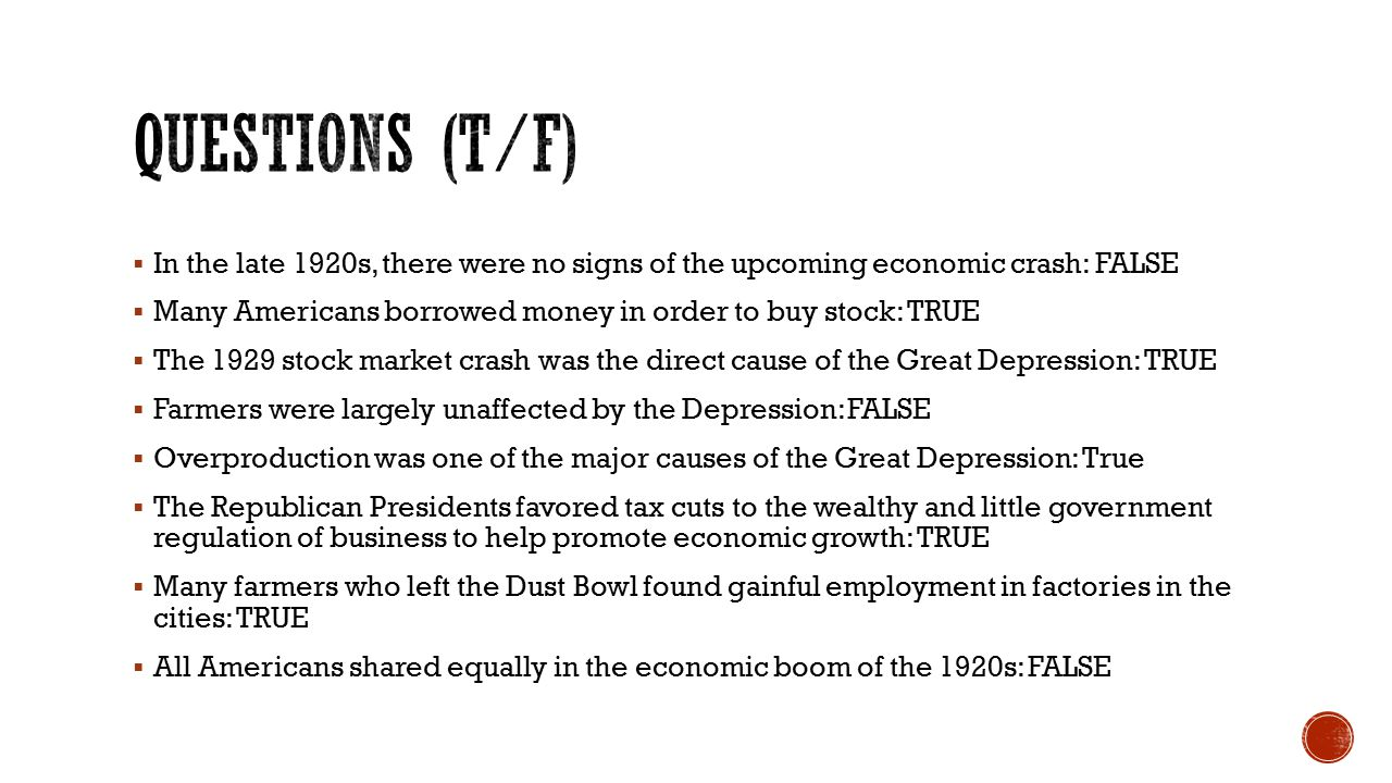 Great Depression and Roaring Twenties Review - ppt download