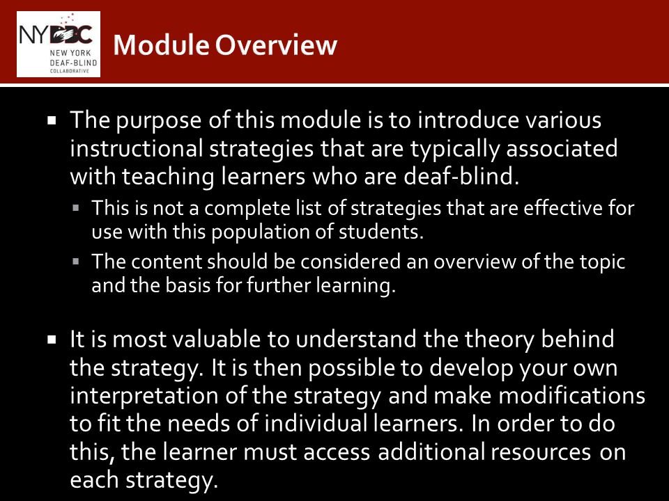 Instructional Strategies For Teaching Learners Who Are Deaf Blind