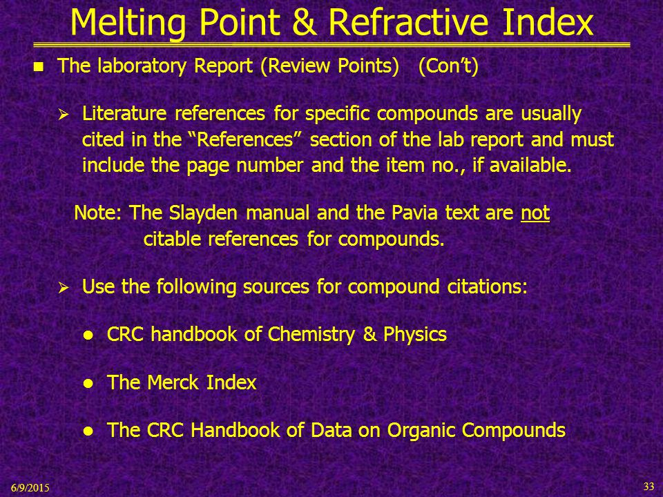 organic chemistry lab report melting point determination