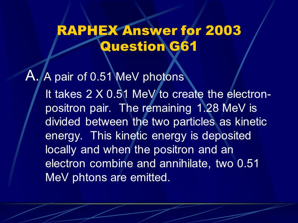 RAPHEX Answer for 2003 Question G61