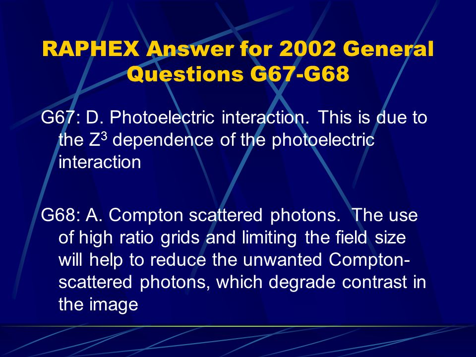 RAPHEX Answer for 2002 General Questions G67-G68