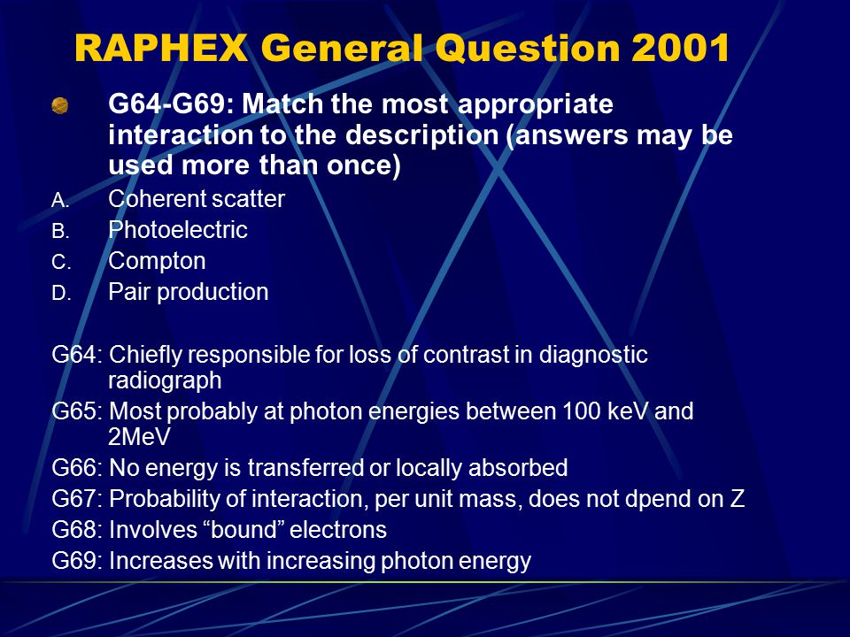 RAPHEX General Question 2001
