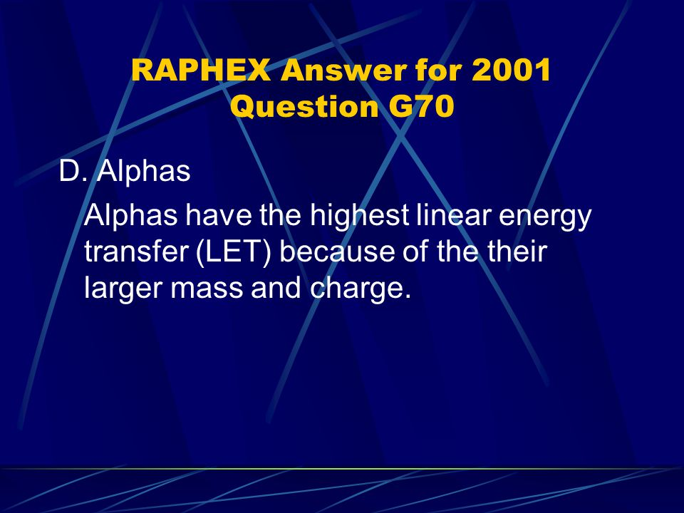 RAPHEX Answer for 2001 Question G70