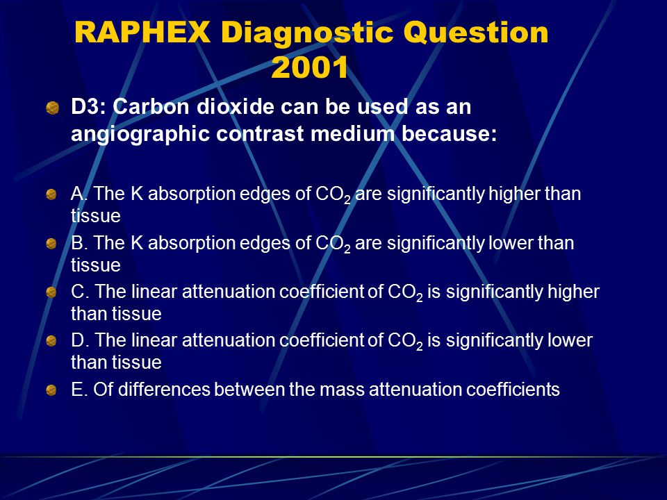 RAPHEX Diagnostic Question 2001