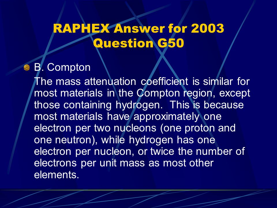 RAPHEX Answer for 2003 Question G50