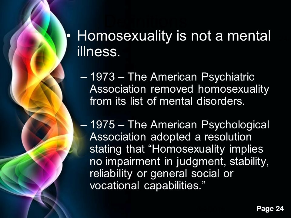 Psychological disorders list homosexuality