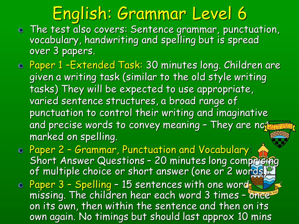English: Grammar Level 6